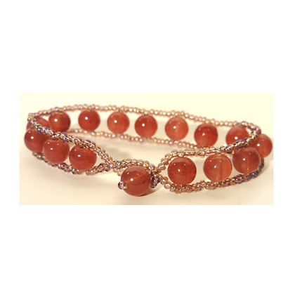 Amber Glass Bead Bracelet