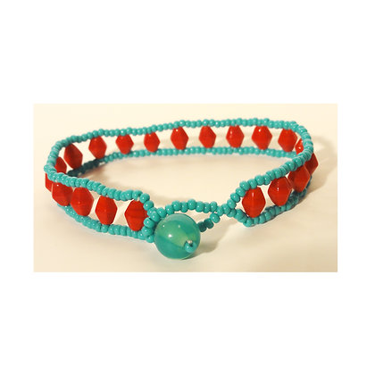 Blue and Red Glass Bead Bracelet