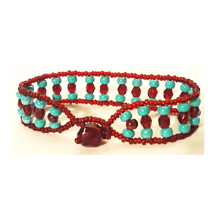 Garnet Blue Glass Bead Bracelet