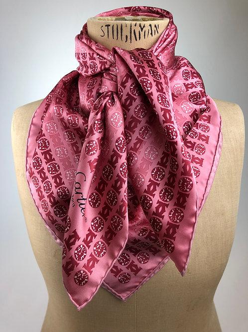 Cartier Monogram Silk Scarf,Cartier, Vintage Cartier scarf, Cartier scarf, Designer Cartier scarves.