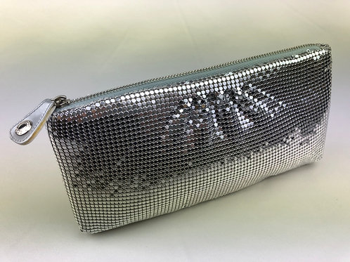 Jimmy Choo chainmail sequin clutch bag, vintage clutch bag, silver clutch bag Jimmy Choo