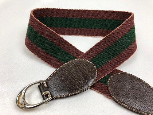 Gucci belt, vintage Gucci belt, Gucci webbing belt, Ladies Gucci belt with brown buckle fastening