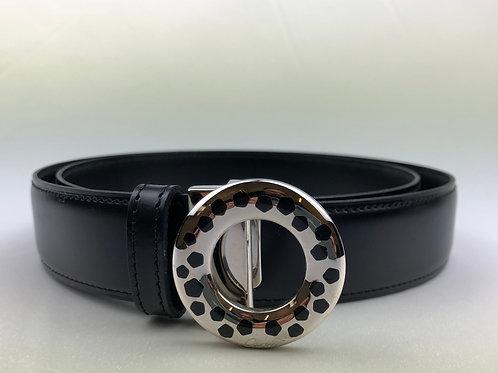 Cartier black panther leather belt, vintage black panther buckled belt, Vintage Cartier, Cartier belt.