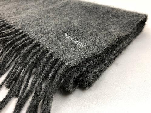 Hermes cashmere scarf, Hermes scarf, grey Hermes scarf