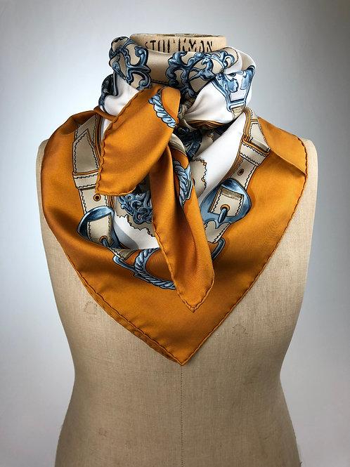 Hermes Cuiveries Silk Scarf,Hermes vintage scarf, vintage scarf, Vintage Hermes vintage scarf.