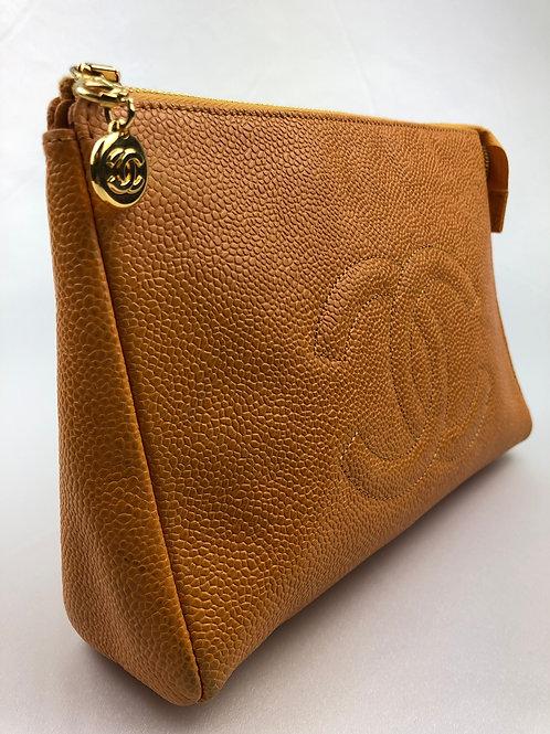 Chanel tan clutch bag, tan leather clutch bag, vintage Chanel, Chanel leather clutch bag.