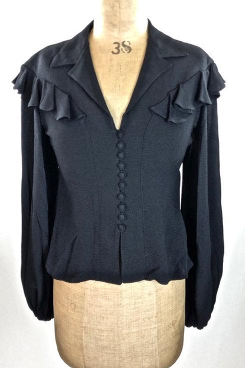 Vintage Ossie Clark black shirt,Ossie Clark, black shirt, vintage clothing, preve.com