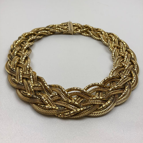Vintage Christian Dior necklace, Christian Dior gold necklace, Second hand Christian Dior gold woven necklace.
