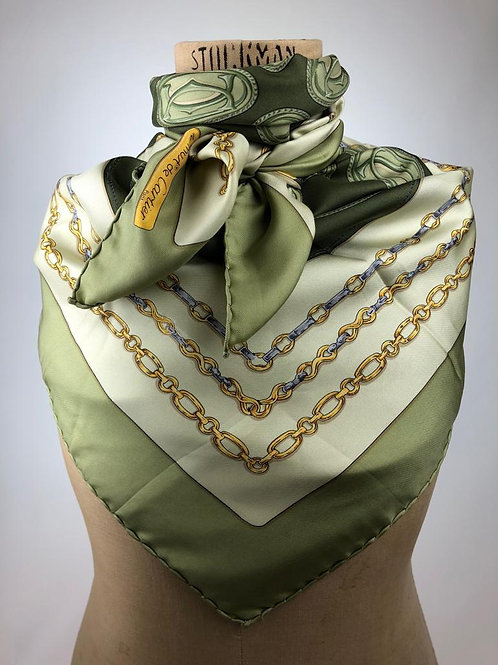 Cartier Pale Green Silk Scarf