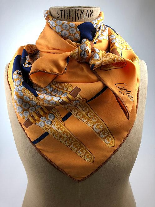 Cartier scarf, cartier head scarf, Cartier square, vintage Cartier, Vintage designer scarves.