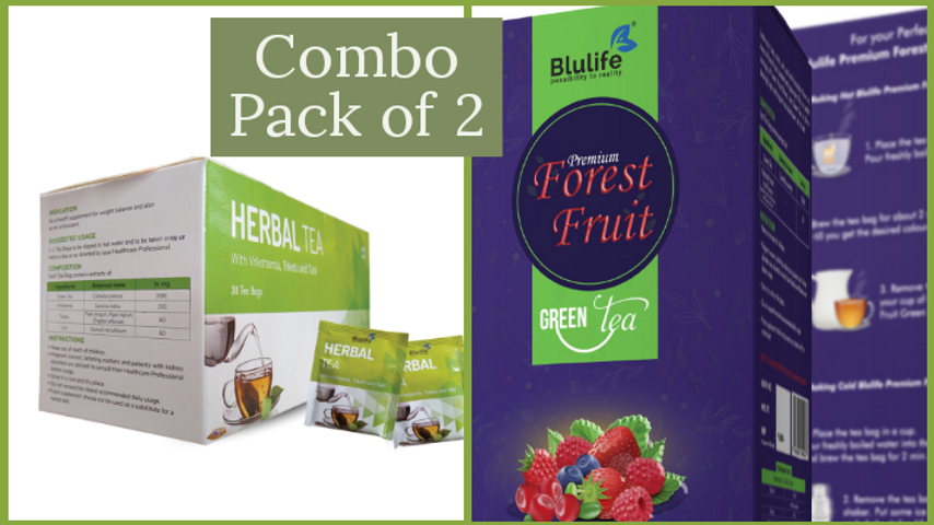 Combo Of Herbal Tea and PREMIUM FOREST FRUIT GREEN TEA