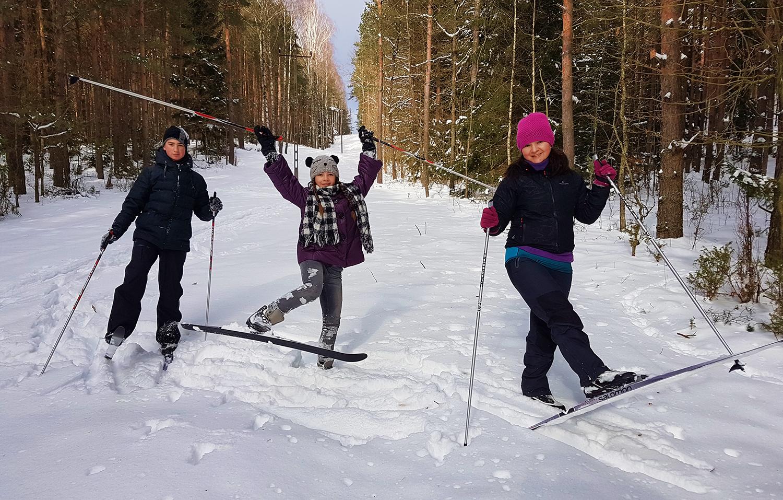 Spacer na nartach biegowych