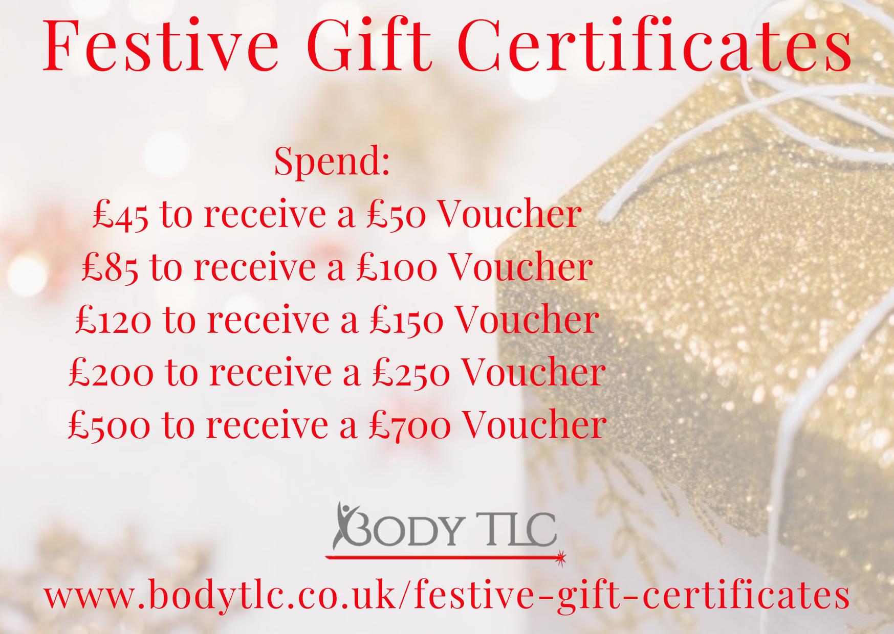 Festive Gift Certificate Amounts