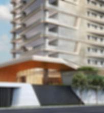 Portaria e parte da fachada do empreendimento Heritage Cyrela no Itaim Bibi - SP