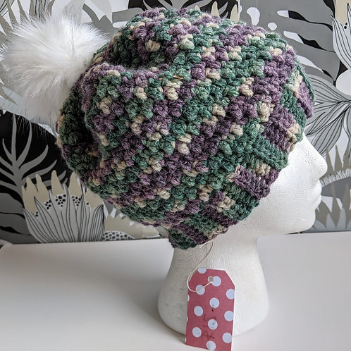 Purple and Green Hat with Fuzzball  (MED)