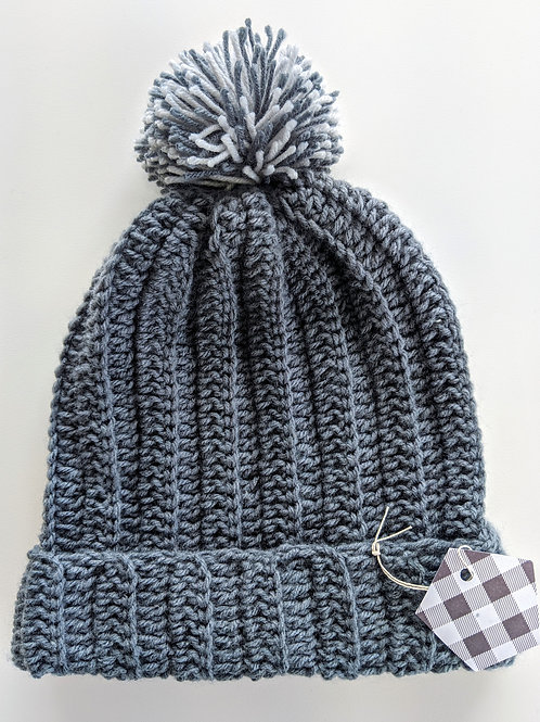Gray Hat with PomPom (Med)