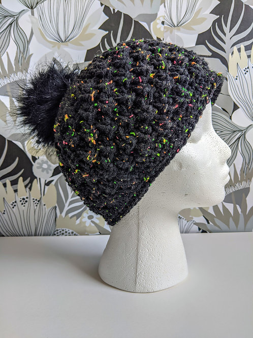 Black Neon Fleck Hat with Fuzzball (LG)