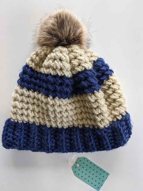 Blue and Tan Hat with Fuzzball (LG)