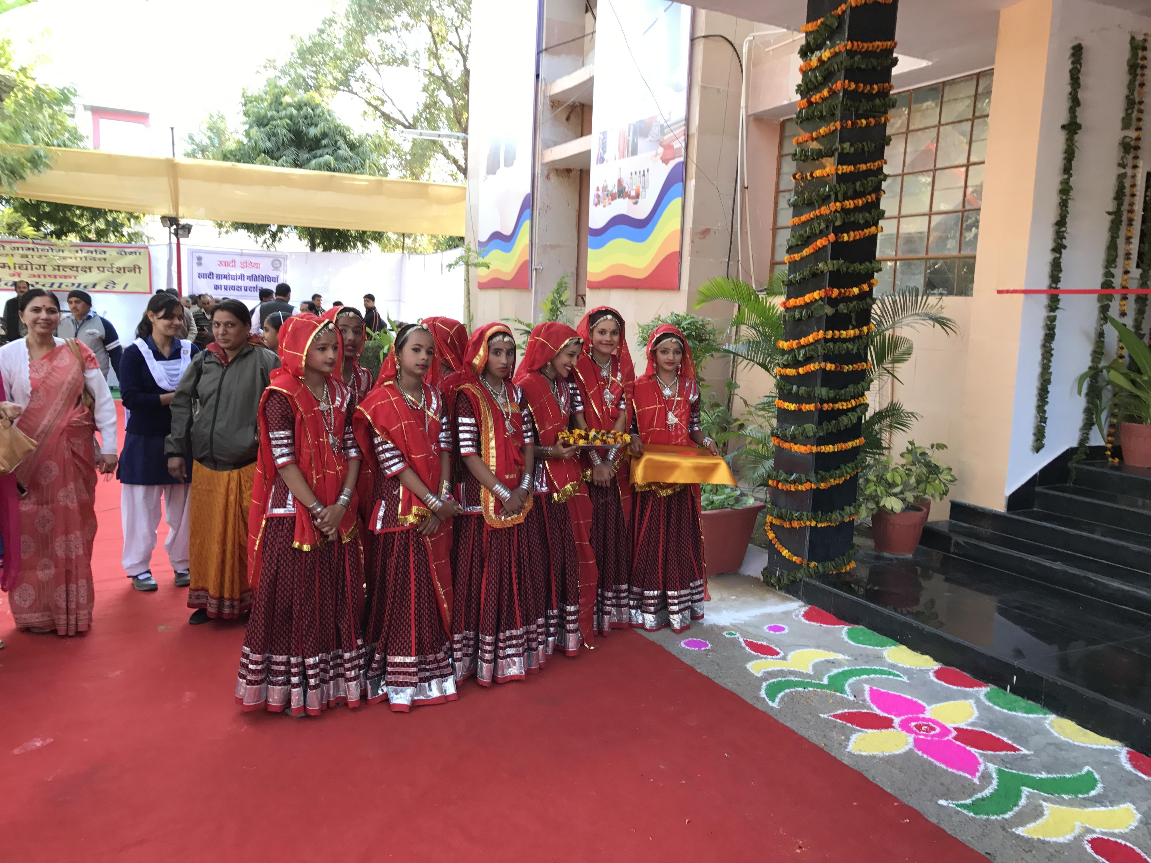 School girls welcoming Chairman