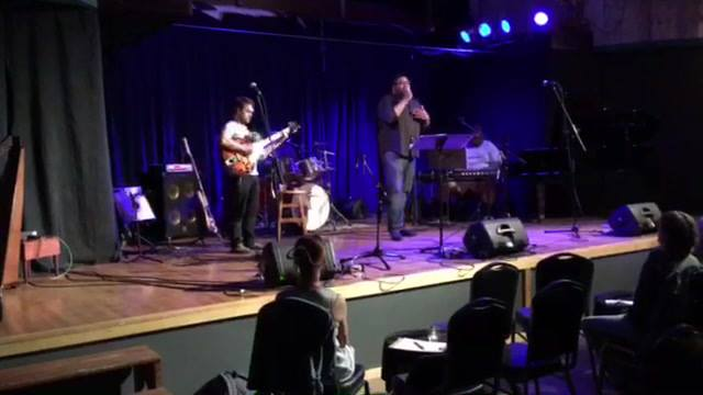 The Andrew Fisher Quartet hosting Acorn Open Mic!  My filming does not do them justice at all. They are amazing!  (I was eating ice cream from Mooney's with the other hand is my excuse. BTW Have we mentioned our Showcase & ice cream social on June 2n