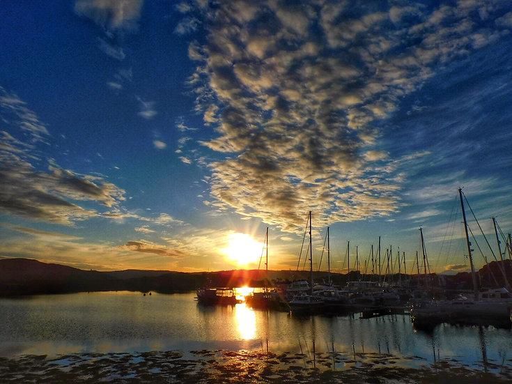 Sunset at Craobh Haven Marina Single Card