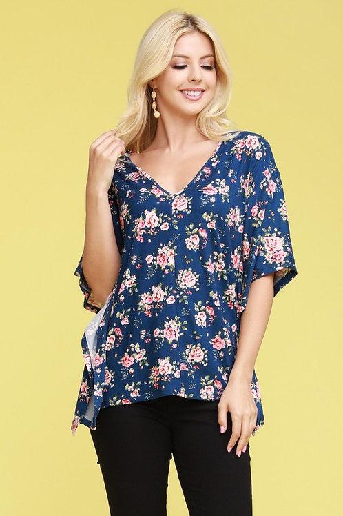 Plus Size: Kimono Sleeve V-Neck Top
