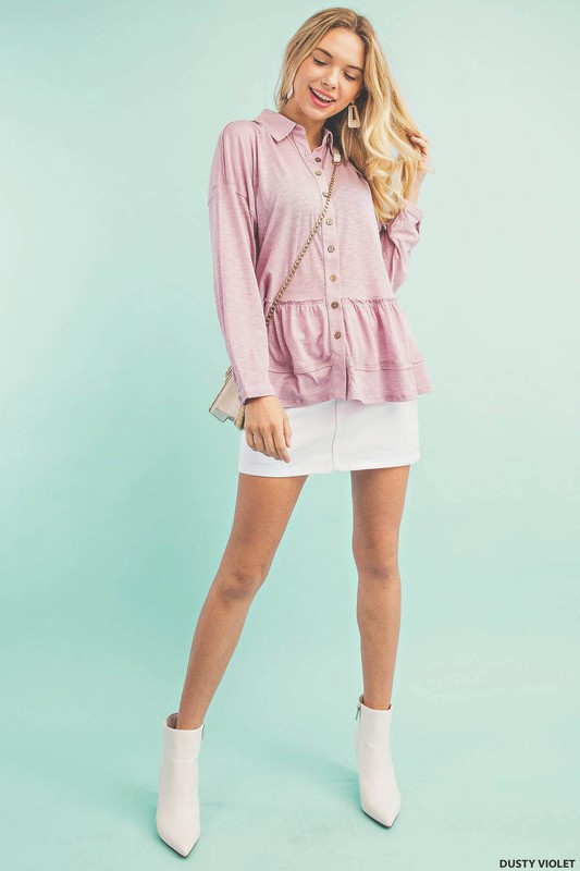 SPOT- LIGHT SPECIAL: Button Down With Frill Knit Top