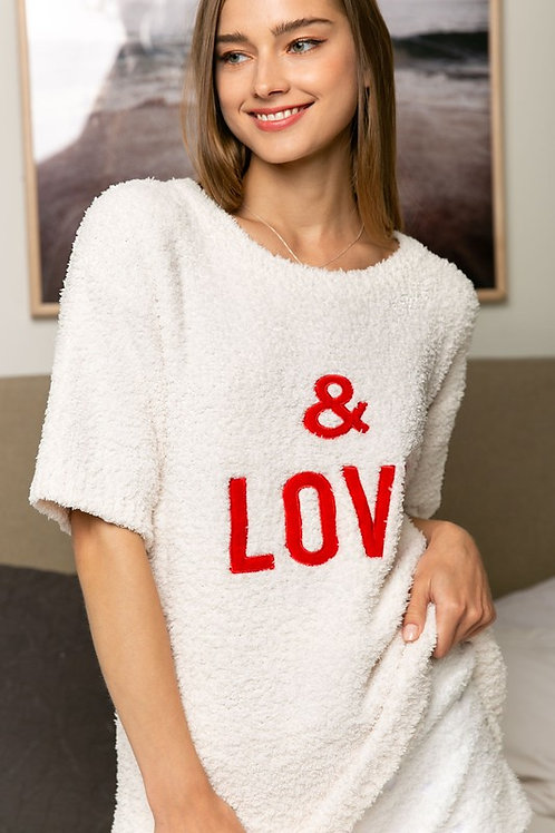 Popcorn Short Sleeve Sweater Top With Embroidered Detail