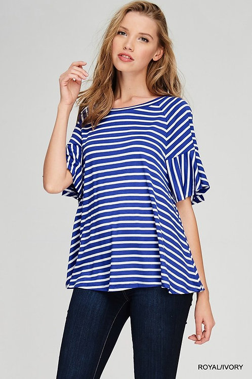 Striped Top With Belled Short Sleeves