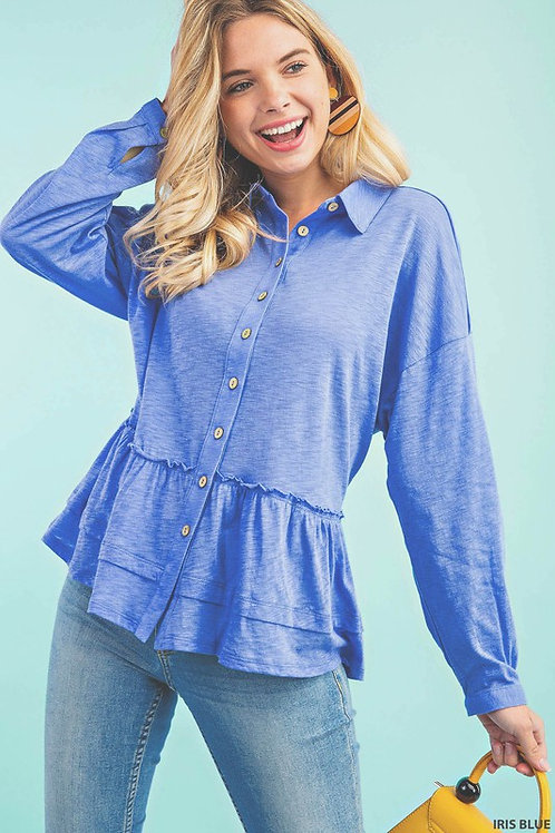 SPOTLIGHT SPECIAL: Button Down With Frill Knit Top