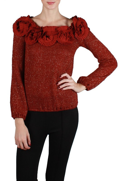 Ruffle Trim Off The Shoulder Holiday Top
