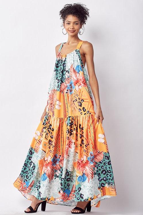 Mixed Pattern Maxi Dress With Pockets