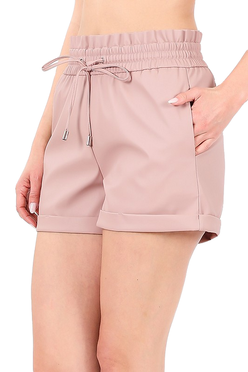 Vegan Leather Paper Bag Waist Shorts
