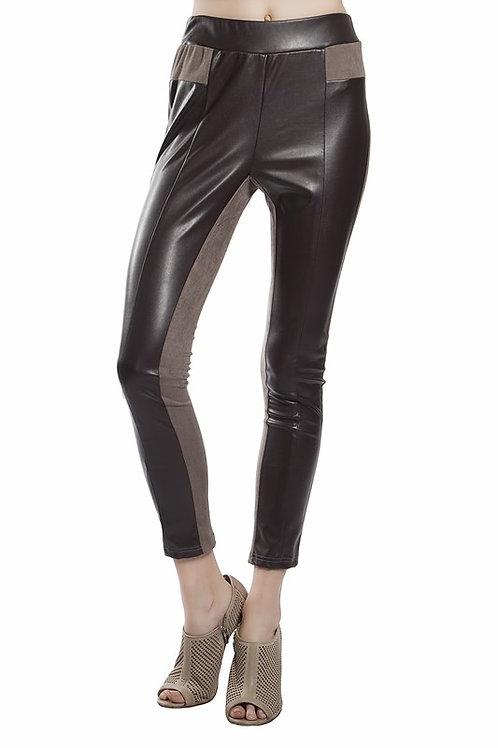 Faux Suede/Leather Contrast Leggings