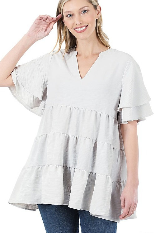 Woven Tiered Ruffle Bell Sleeve Top