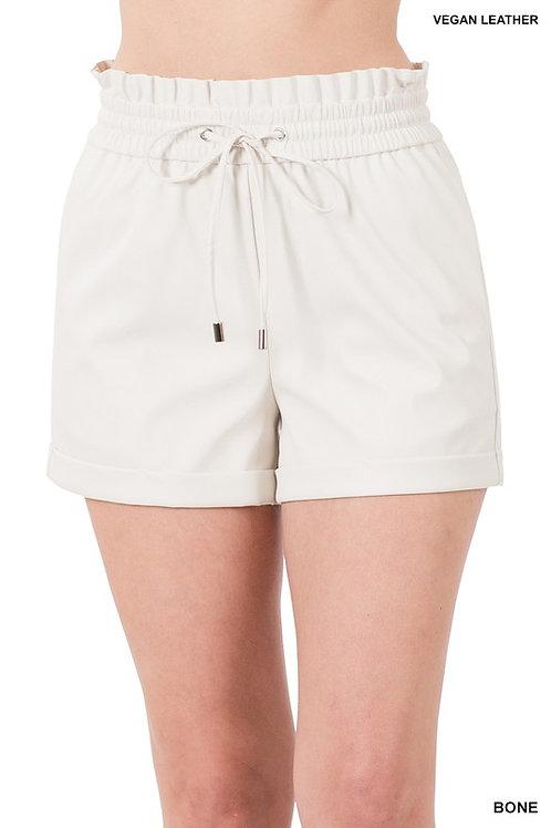Vegan Leather Paper Bag Waist Shorts