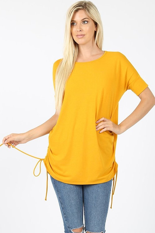 Short Sleeve Round Neck Side Ruched Top