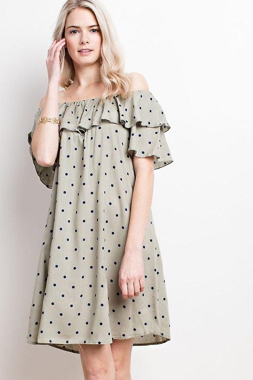 Polkadot Ruffled Off Shoulder Woven Dress