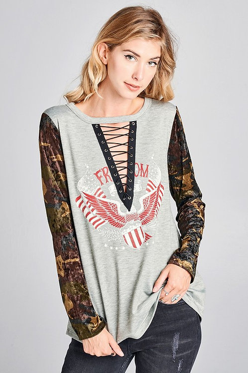 Lace-Up Graphic Top With Velvet Camo Sleeves
