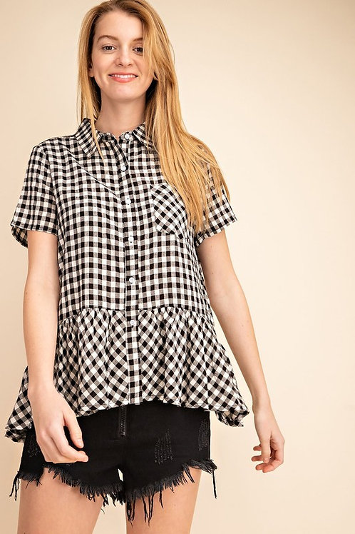 Gingham Babydoll Woven Shirt Top