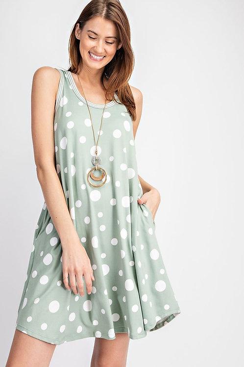 Polka Dot Swing Dress with Side Pockets.