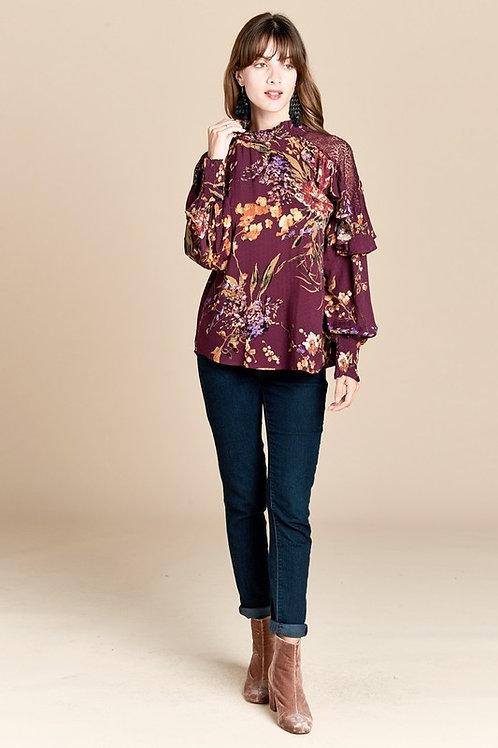 Lace Shoulder Insets Floral Blouse