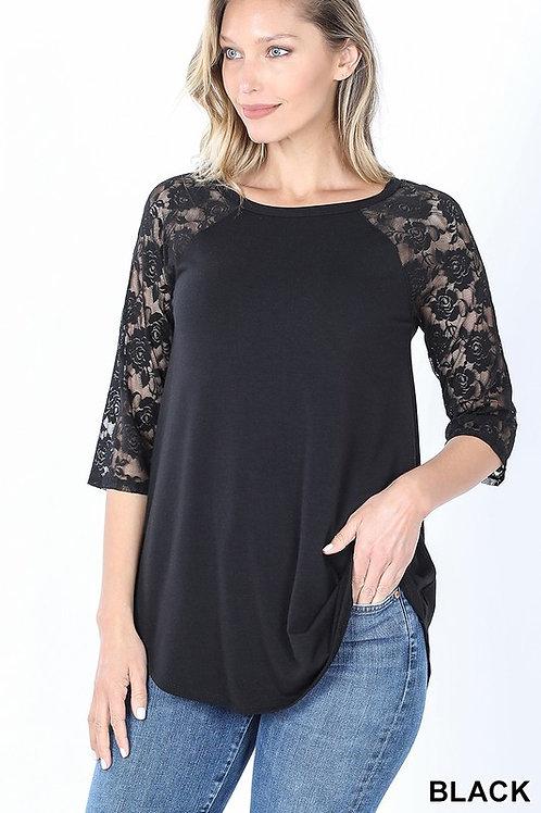 Plus Size: Lace Half Sleeve Round Neck & Round Hem Top