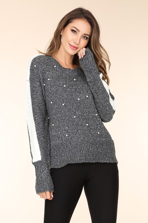 Knitted Sweater With Pearl Accent