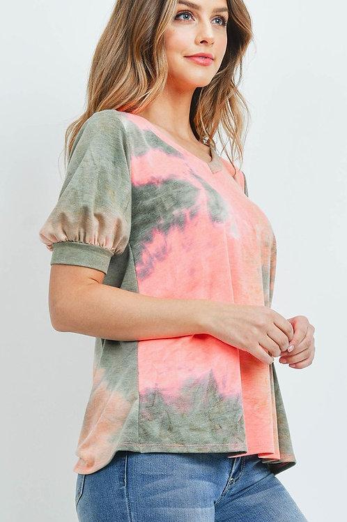 Short Bubble Sleeve Tye Dye Top