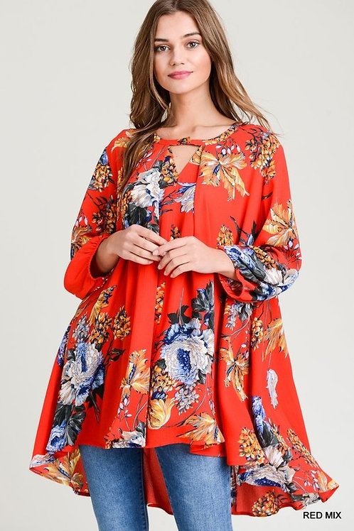 Floral 3/4 Bubble Sleeve Keyhole Tunic Top
