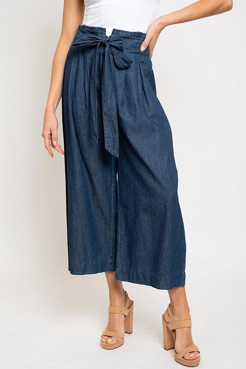Wide Leg Cropped Denim Pants