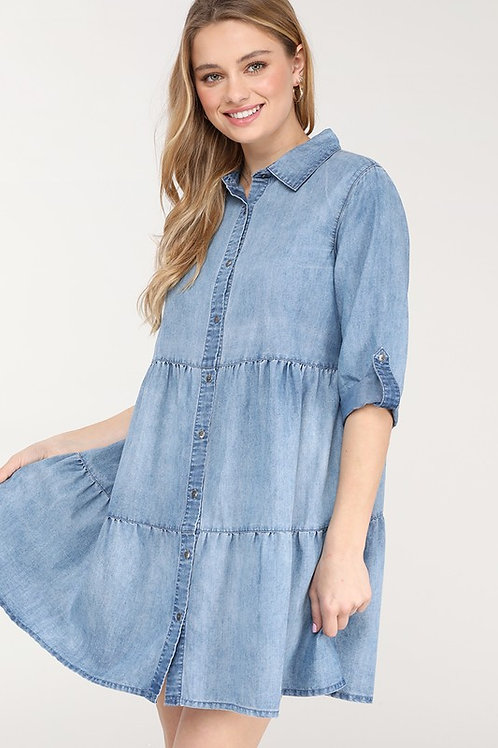 BUTTON DOWN SHIRT DRESS WITH TWO LAYERED