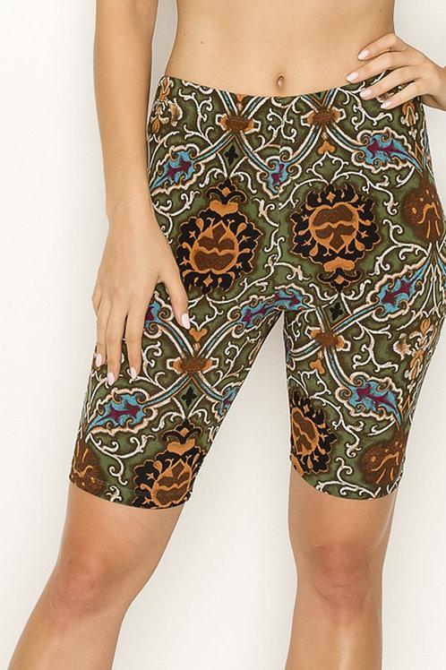 Antique Green Print Biker Shorts
