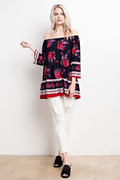 Border Floral Knit Off Shoulder Tiered Hem Top